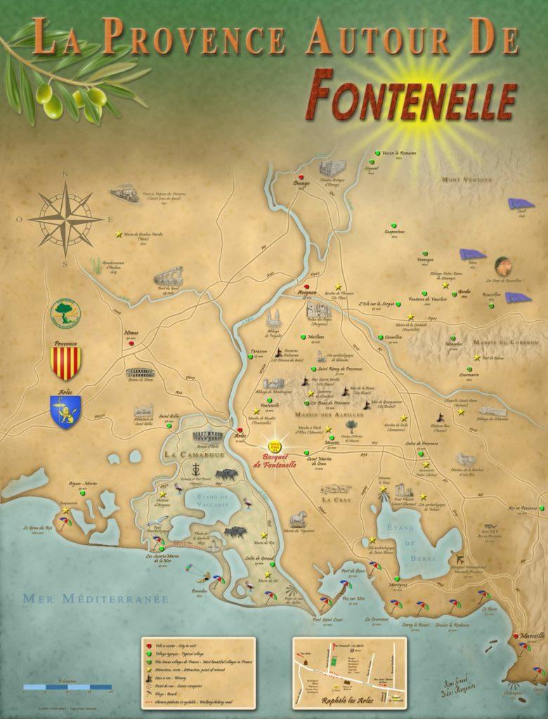 Carte touristique personnalisé présent dans la résidence de vacances Fontenelle entre la Camargue et les Alpilles